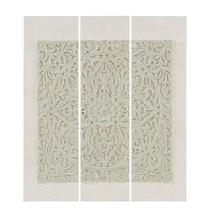 Wooden Mandala Grey Wood Grey Canvas Wall Art 9.25u0026quot; Wx35.5 H 3 Piece