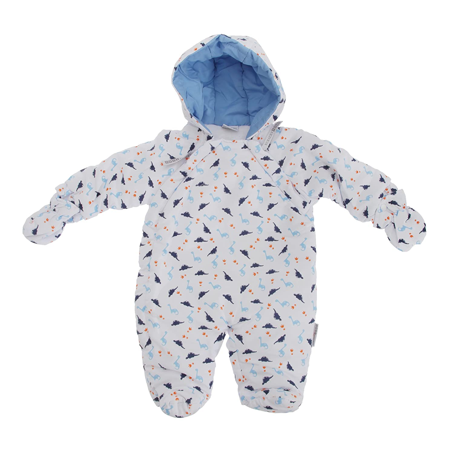 Baby Boys Dinosaur Pattern All In One Hooded Winter Snowsuit (Newborn) (White) Universal Textiles UTBABY991_8