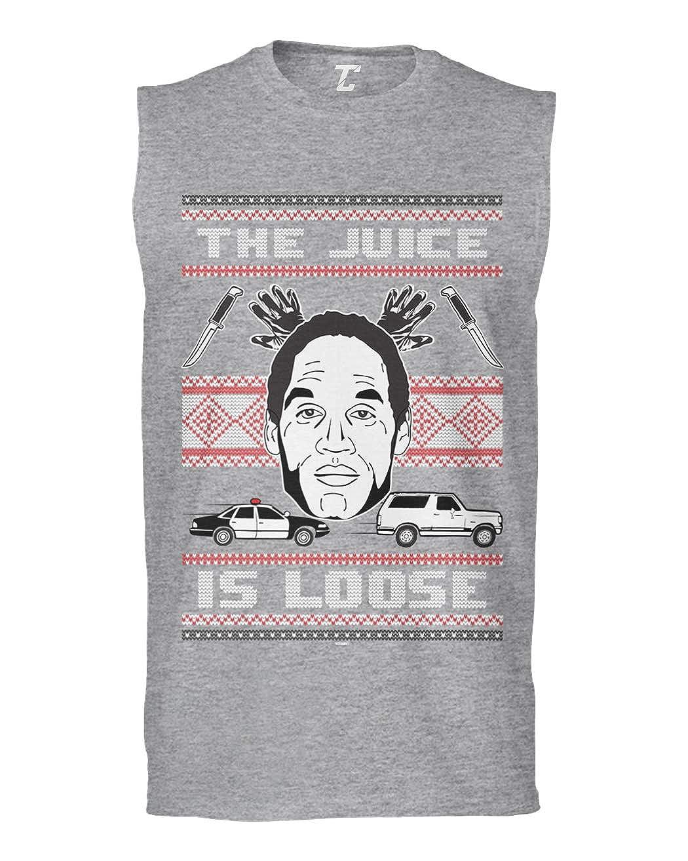 Tcombo The Juice is Loose Funny OJ Ugly Christmas Mens Sleeveless Shirt