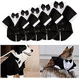 Kungfu Mall Abito formale da sera per cani, con papillon, camicia e doppio petto, con colletto, medium