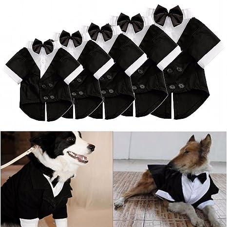 Traje formal Kungfu Mall para perro. Ropa para mascota, cachorro. Con pajarita, camisa y doble botonadura. Disfraz esmoquin para boda. Ropa para ...