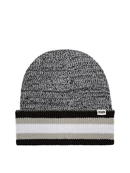 110f1e9d349 Victoria s Secret Pink Knit Beanie Hat Black   Grey Marl Reversible OS at  Amazon Women s Clothing store