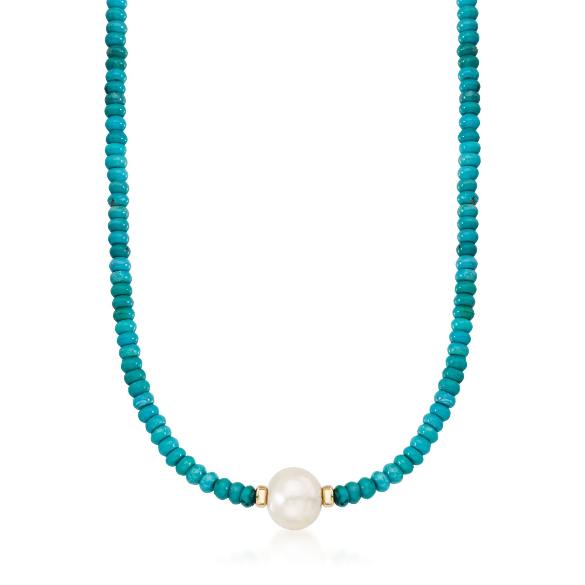 Ross-Simons Turquoise Bead and 12-13mm Cultured Pearl Necklace in 14kt Yellow Gold