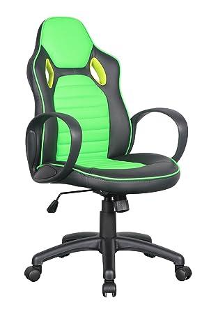 Racing Sillón de Oficina Silla de Oficina Silla giratoria Negro/Verde - 0936M/2257: Amazon.es: Hogar