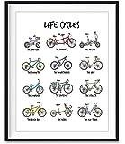 White Life Cycles, Bicycle Bike Chart Illustration Art Print, Unframed, Cycling Biking Wall Art Decor Poster Sign…