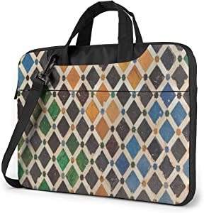 Vintage Colorful Moroccan Plaid Laptop Bag Case Sleeve Briefcase Computer Organizer for Women Men 13""
