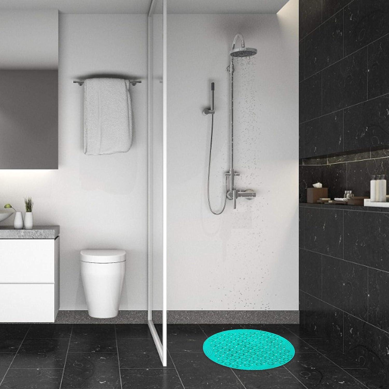 Duschmatte Rund Duscheinlage PVC Badezimmermatte rutschfest Duschwanneneinlage mit Saugn/äpfe Duschmatten f/ür Badezimmer Maschinenwaschbar 55x55 cm