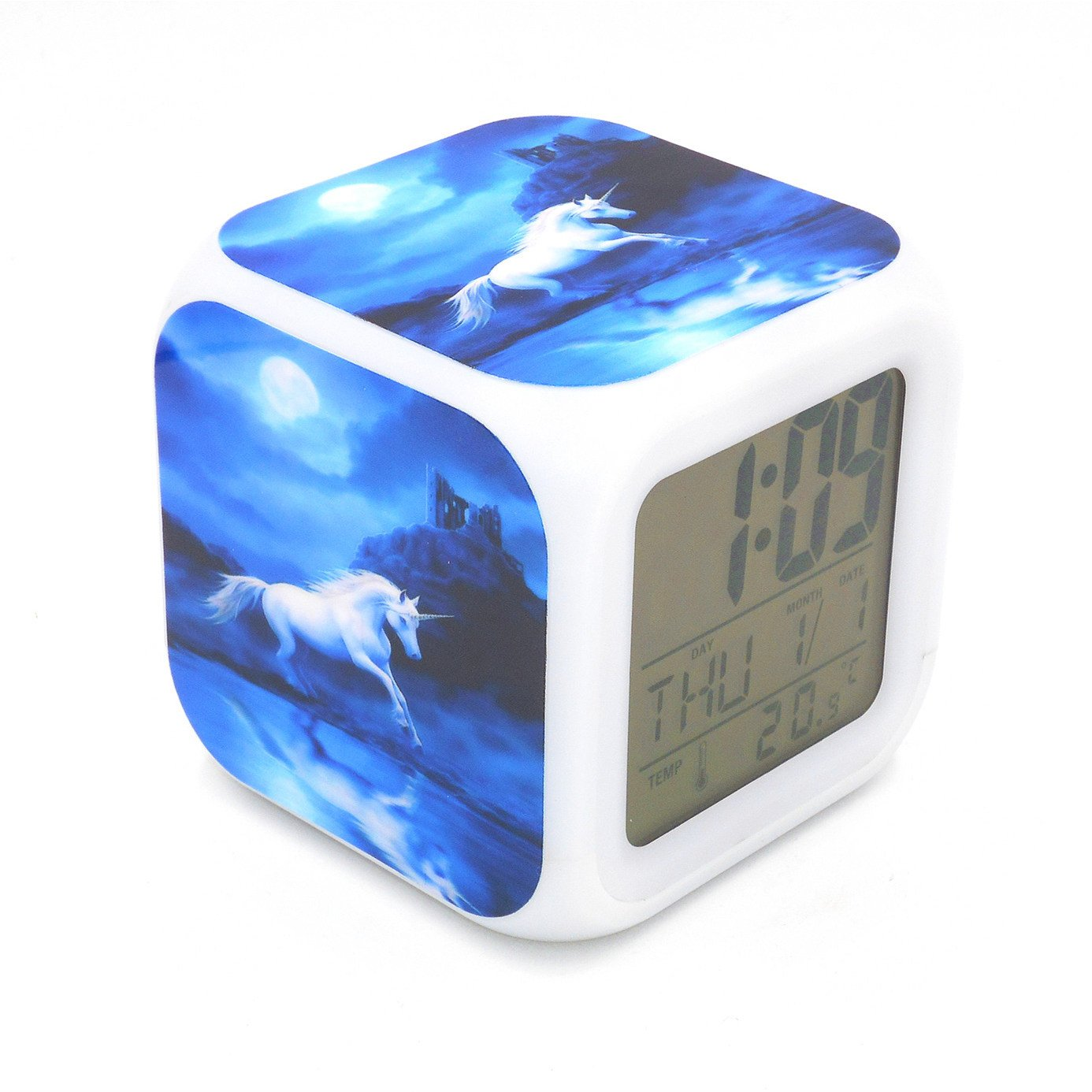 EGS New Unicorn Animal Blue Digital Alarm Clock Desk Table Led Alarm Clock Creative Personalized Multifunctional Battery Alarm Clock Special Toy Gift for Unisex Kids Adults
