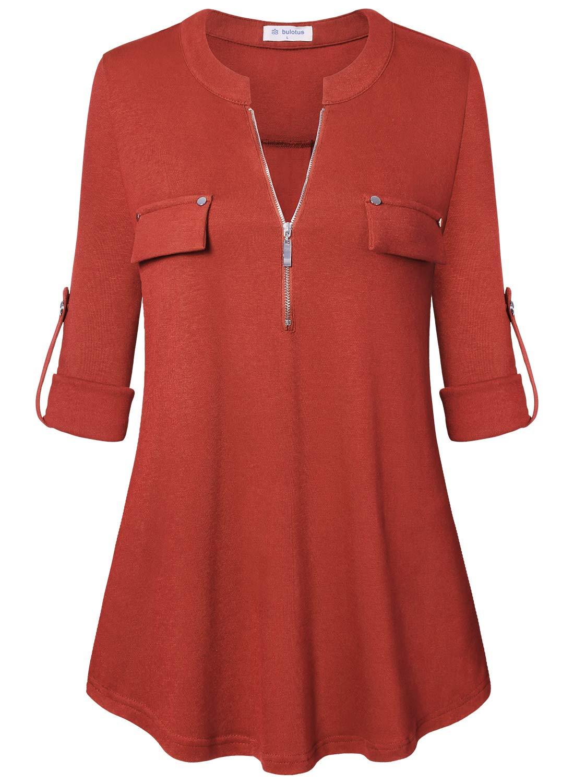Bulotus Women's 3/4 Sleeve Loose Fit Dressy Tunic Tops Plus Size,Orange,XXX-Large