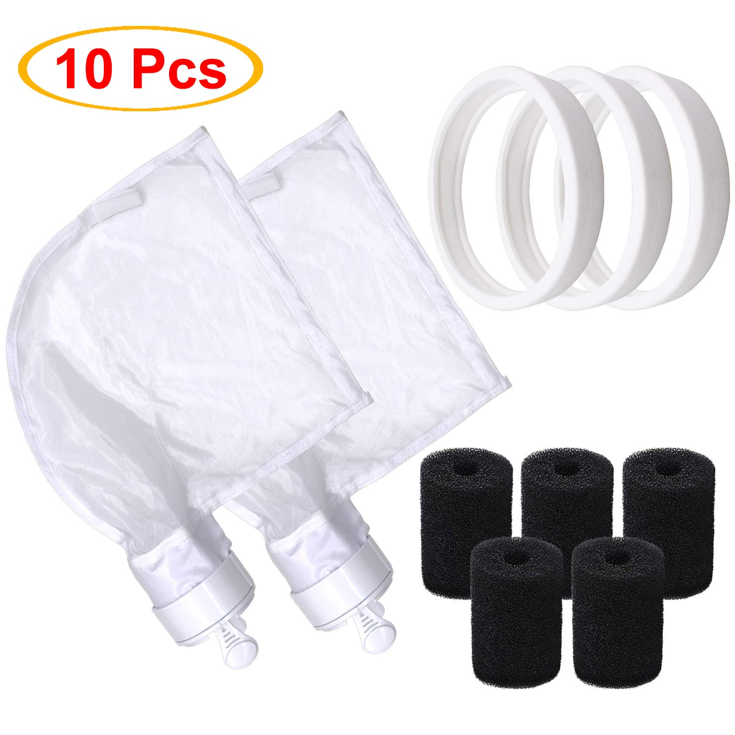 S-Union Pool Cleaner Parts Replacement for Polaris, 2 pack 280 all purpose bag, 3 pack Pool Cleaner All Purpose Tire, 5 pack Sweep Hose Scrubber Replace for Polaris 280 Part NO K13 K16 C-10 9-100-3105 by S-Union