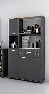 armario aparador bufe alto de cocina de puertas y cajn gris grafito cm