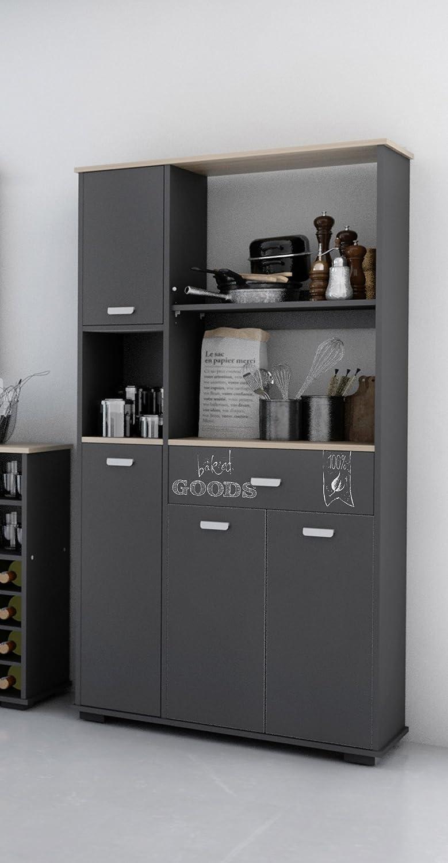 Armario aparador bufe alto de cocina de 4 puertas y 1 cajón gris ...