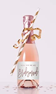 Will You Be My Bridesmaid Proposal Mini Champagne Bottle Labels - Set of 12 (Rose Gold - Not Foil)