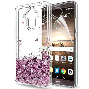 LeYi Funda Huawei Mate 9 Silicona Purpurina Carcasa con HD Protectores de Pantalla,Transparente Cristal Bumper Telefono Gel TPU Fundas Case Cover Para ...