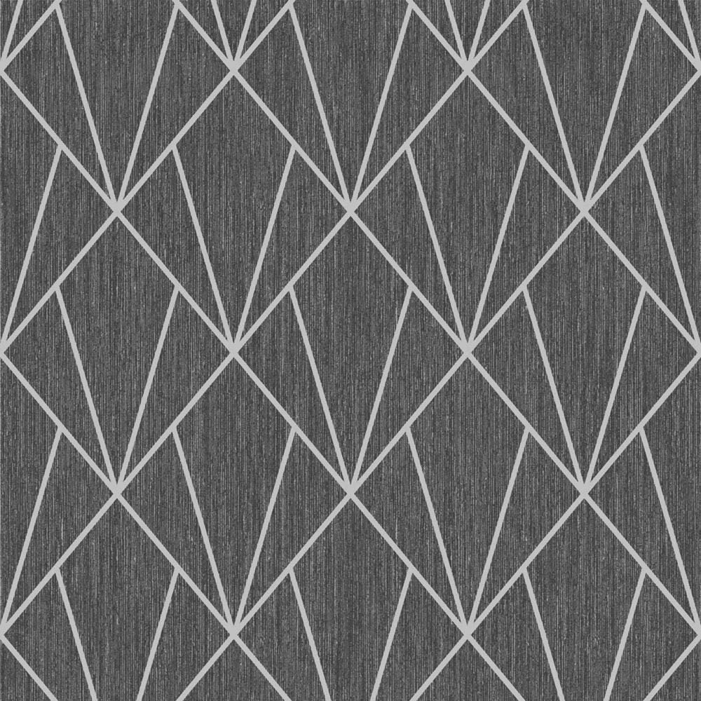 indra geometric wallpaper silver and charcoal muriva 154104