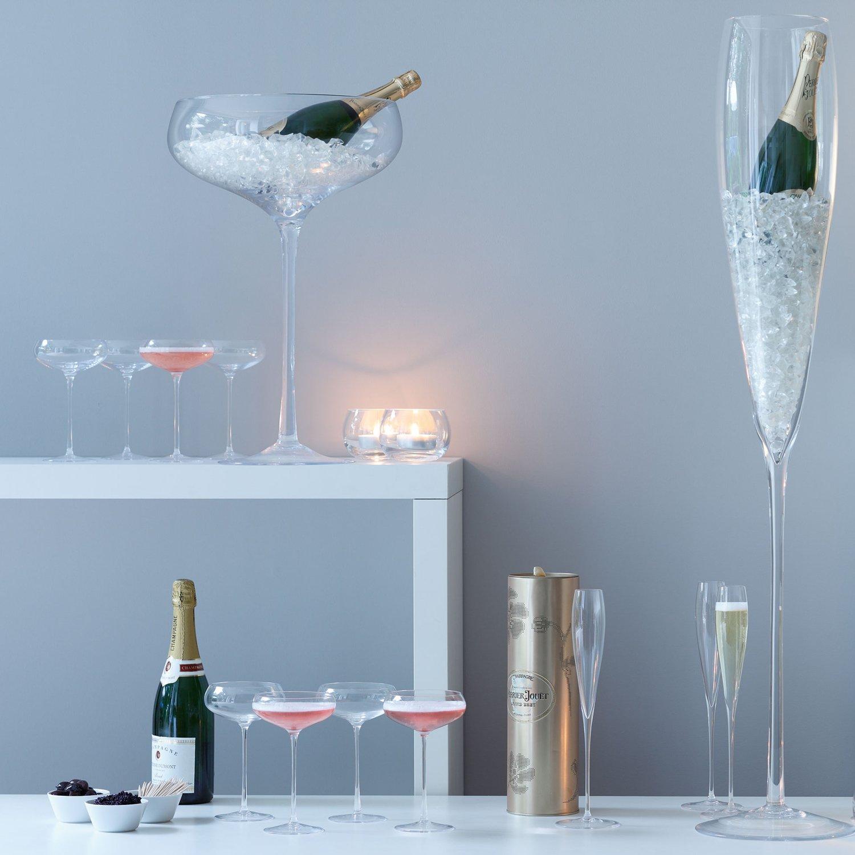 LSA International Wine Champagne Saucer (4 Pack), 10.1 fl. oz., Clear