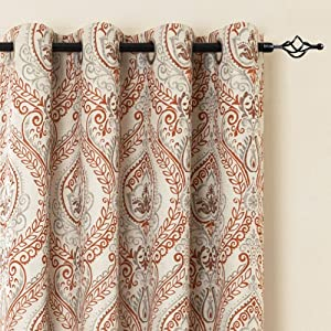Linen Textured Curtains for Bedroom Damask Printed Drapes Vintage Linen Blend Medallion Curtain Panels Window Treatments Room Darkening for Living Room Patio Door 2 Panels 84 Inch Terra Cotta