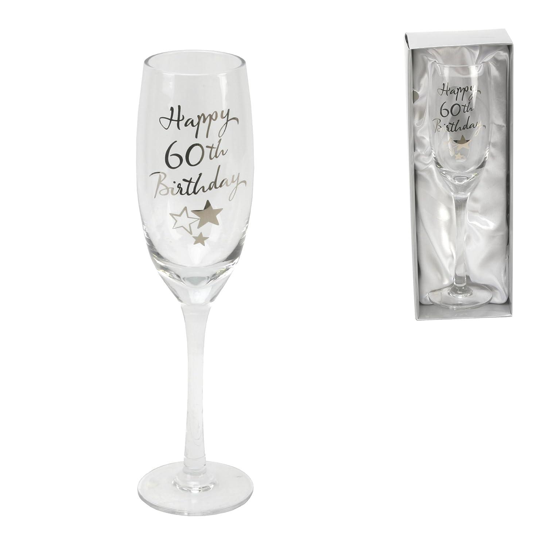 60th Birthday Stars Champagne Flute Glass Gift Widdup Bingham
