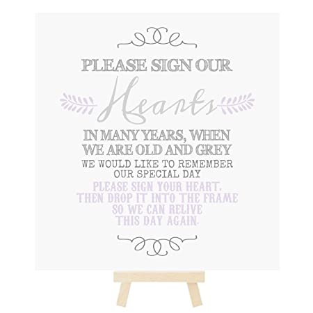 Sign Our Hearts Wedding Drop Top Guest Book Table Sign With Mini ...