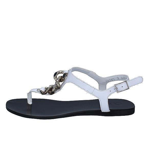 Sandals Woman White Leather AH888 (6 US/36 EU)