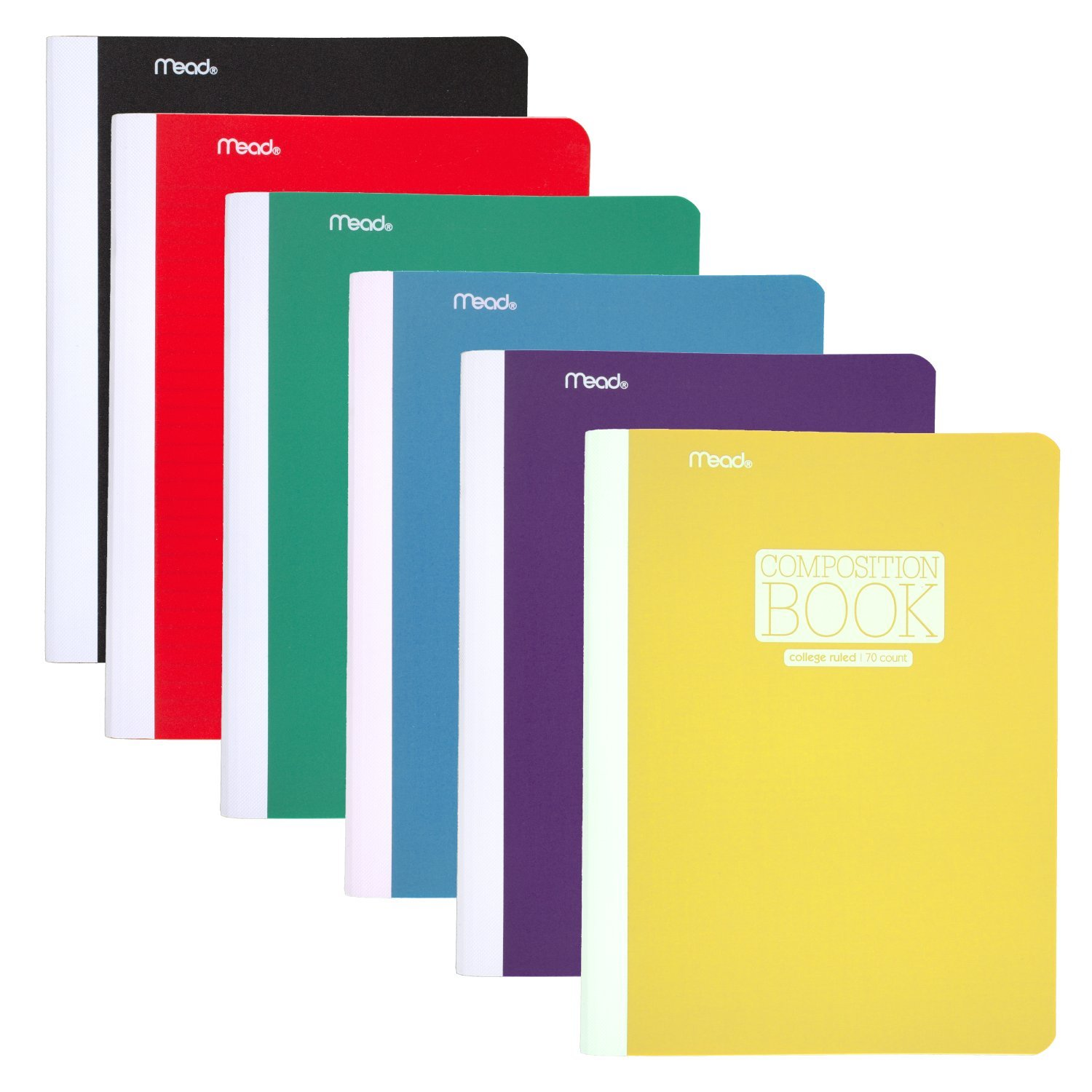 Mead Composition Books/Notebooks, College Ruled Paper, 70 Sheets, Plastic, Assorted Colors, 6 Pack (38978)