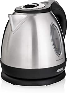 MIXPRESSO Rapid Boil Electric Kettle, Cordless Pot 1.2L Portable Electric Hot Water Kettle, 1500W Strong Double Wall Tea Kettle (Stainless Steel)