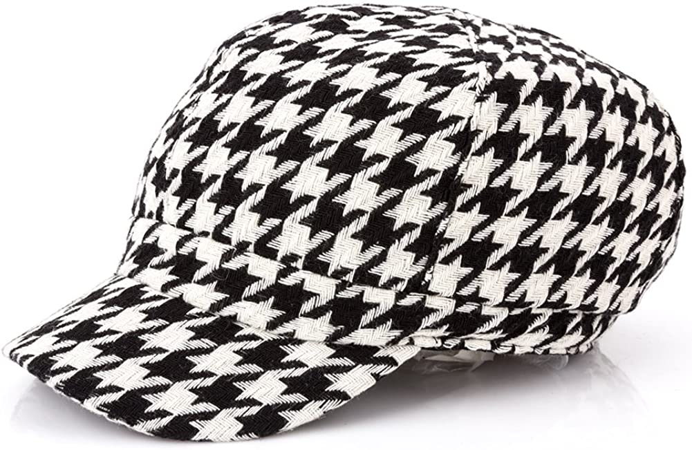Q/&Y YQ Womens Houndstooth Newsboy Caps Cabbie Size M Black White