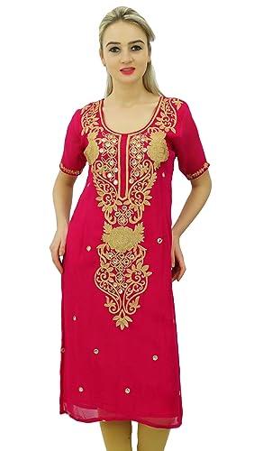 Bimba Diseñador Bordado Kurta Kurti Indian Long Tunic Blusa