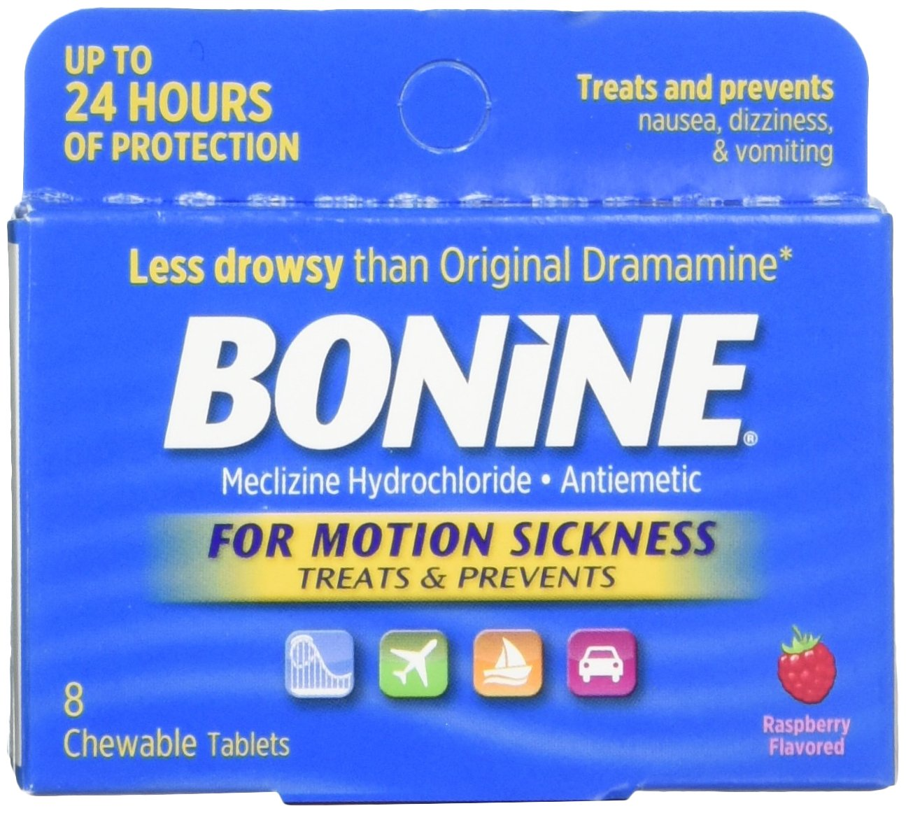 Bonine for Motion Sickness Chewable Tablets, Raspberry Flavored, 8 Each by Bonine (Image #1)