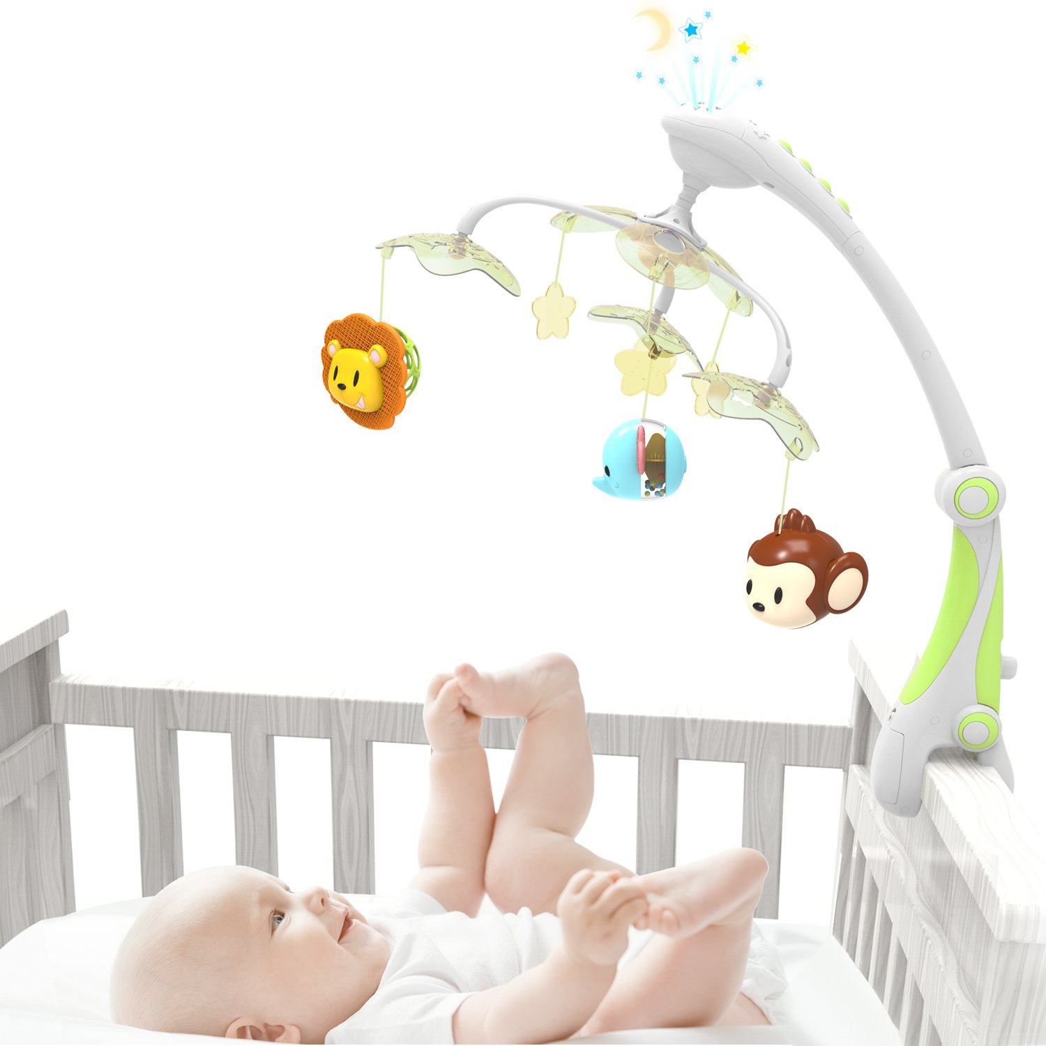 GrowthPic foldable baby crib musical mobile with star projector function,hanging rotating safe teether and loudspeaker with 30 Melodies