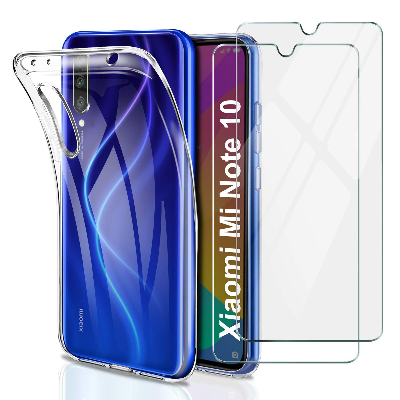 Verre tremp/é /écran Protecteur Lot de 2 Souple TPU /Étui Protection Bumper Housse Cover pour Xiaomi Mi Note 10// Xiaomi Mi Note 10 Pro Younme Coque Xiaomi Mi Note 10 Silicone Transparente Case,