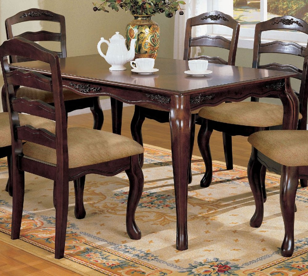 Amazon com townsville dining room table in dark walnut finish by furniture of america tables