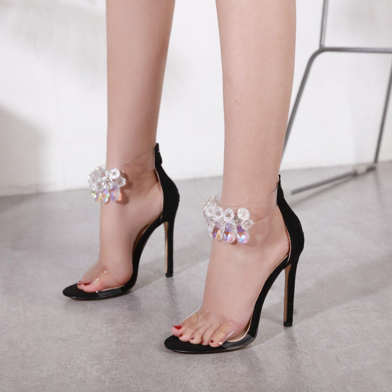 ZHUDJ Stilettos Diamante Transparente Toe Zapatos Stilettos,Negro,37 Thirty-seven|black