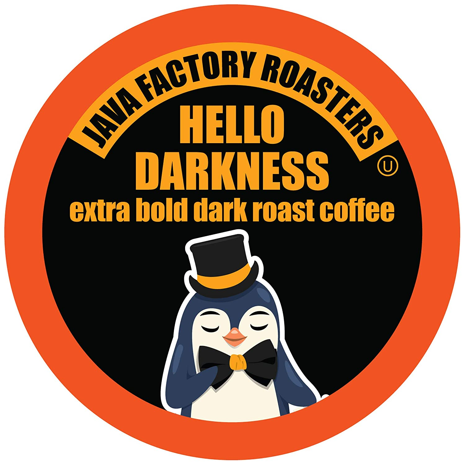Java Factory Hello Darkness Coffee Pods for Keurig K Cup Brewers, Dark Roast, 40 Count, Brown (JFR DH40)
