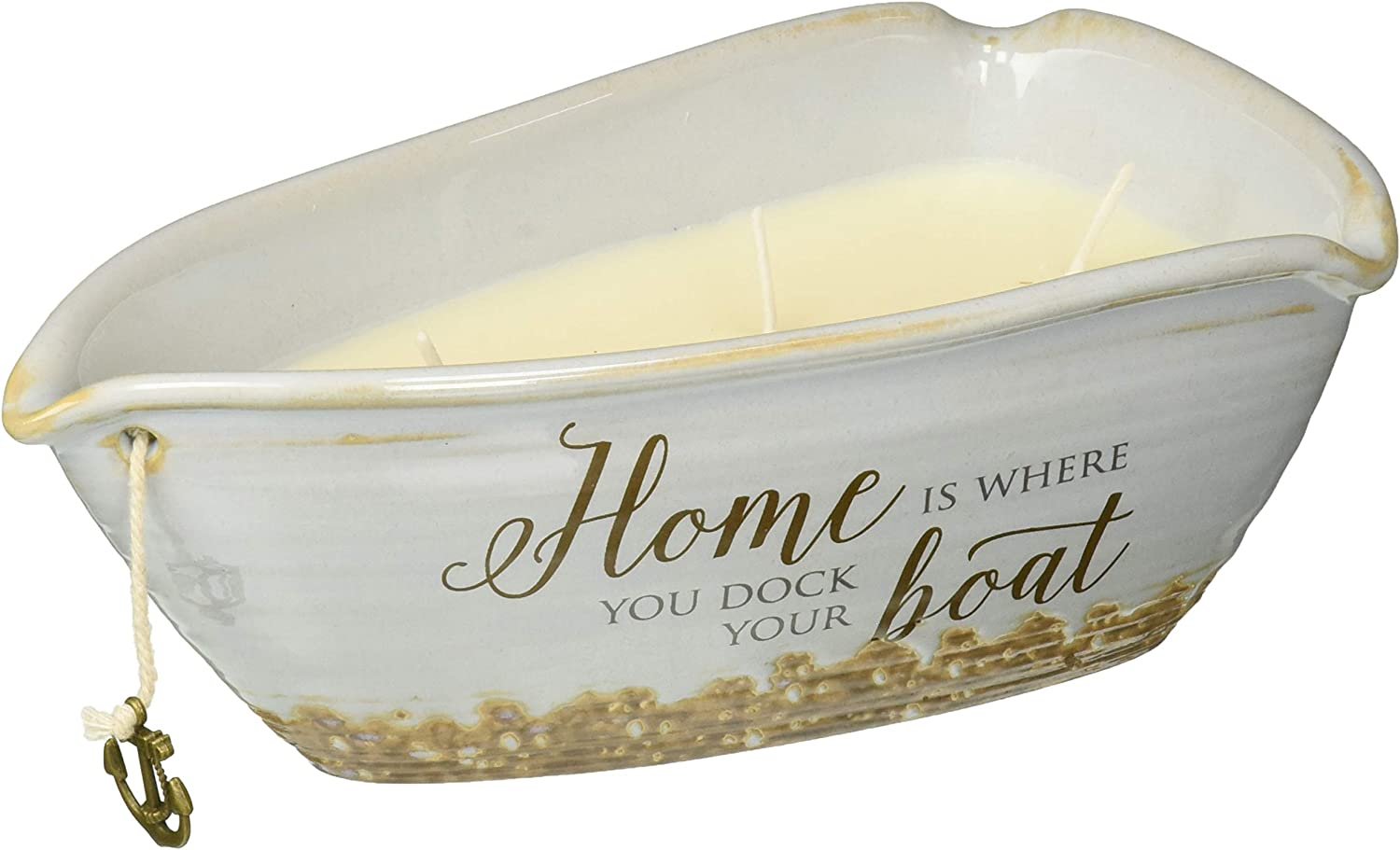 Beige 2.75 Inch Tall Pavilion Gift Company Lake Best Times-Ceramic Boat Shaped 3 Lead Free Triple Wick 10 oz Soy Wax Candle Scent Tranquility