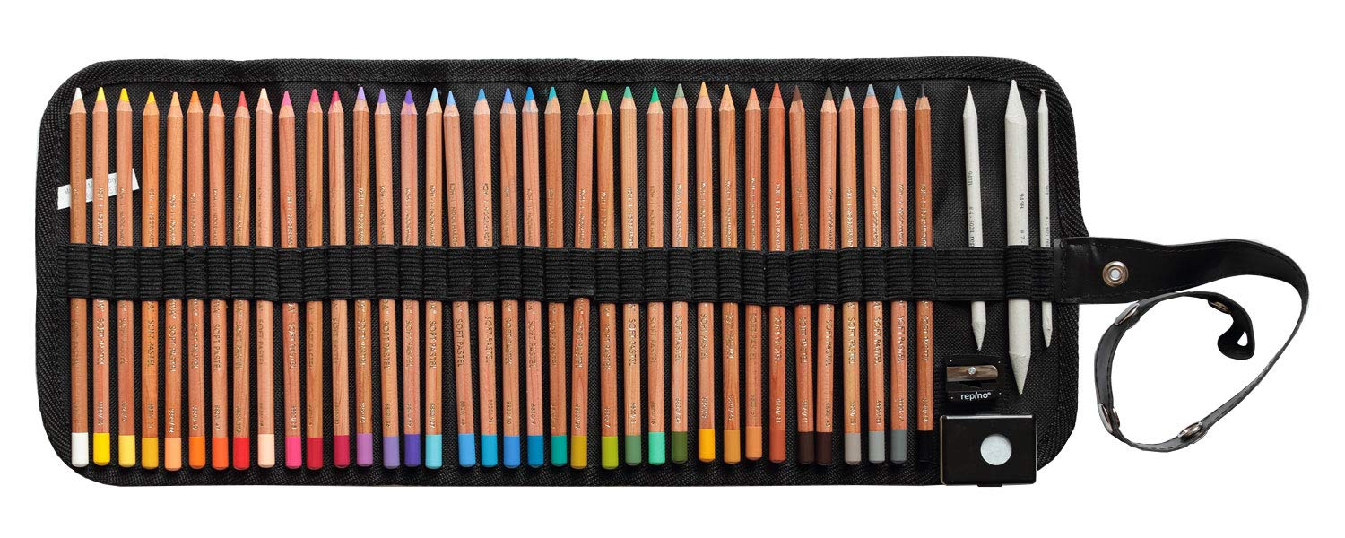 36 Piece of Gioconda Pastel Pencil (Colour Pencils in Case + Sharpener + 3 Stump Künstlerbedarf