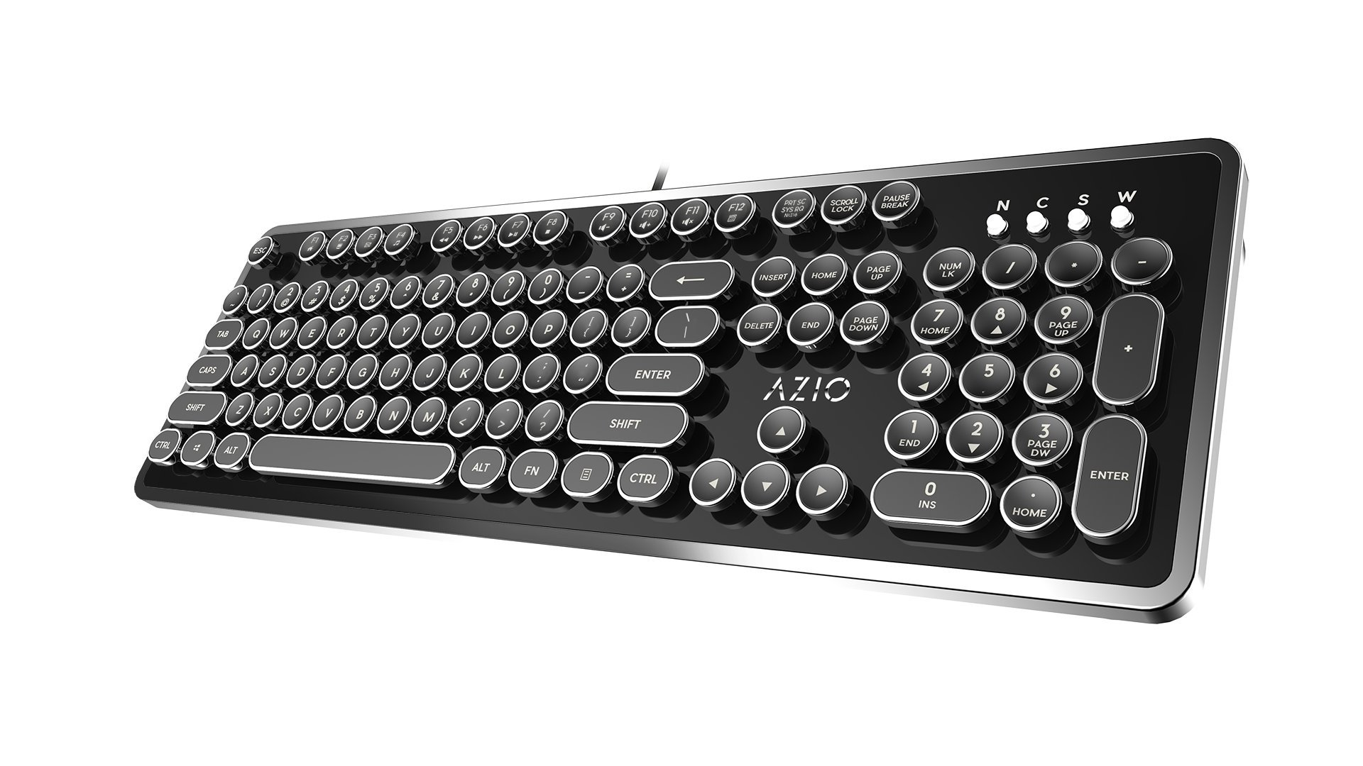 Azio Mk Retro USB Typewriter Inspired Mechanical Keyboard (Blue Switch) MK-RETRO-01 by Azio