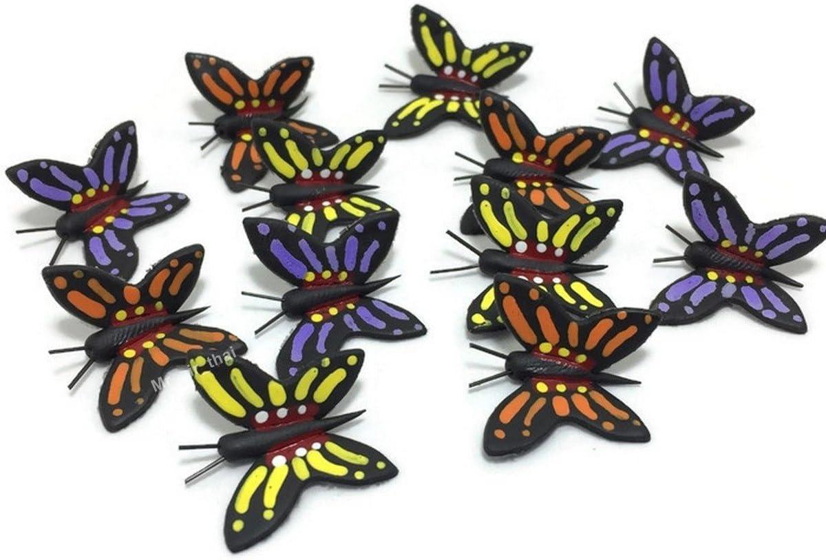 Mr_air_thai_Miniature Lot of 12 Miniature Butterfly Fairy Garden Supplies Animal Figurine Furniture Dollhouse GD#020