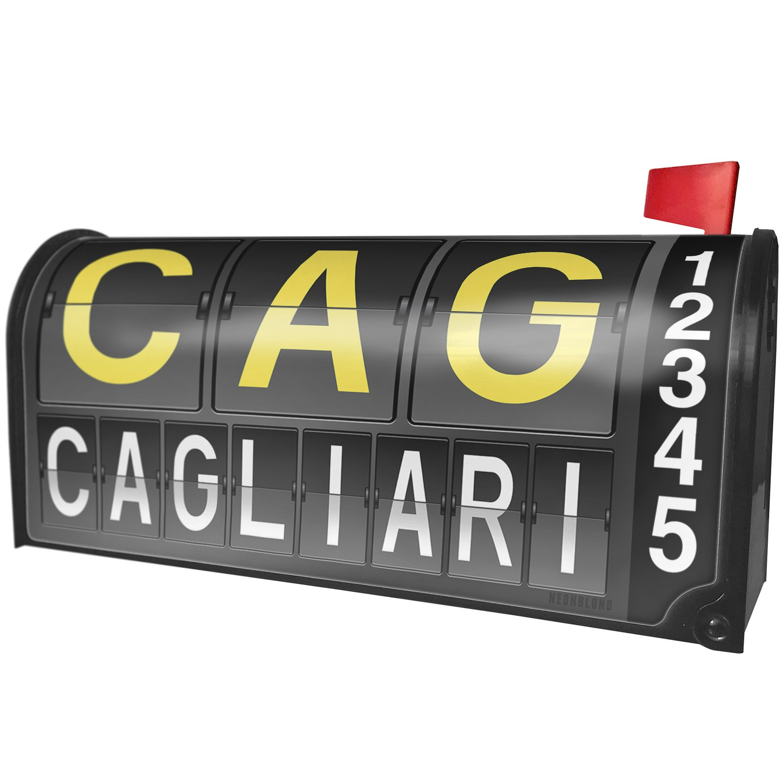 NEONBLOND Cag Airport Code for Cagliari Magnetic Mailbox Cover Custom Numbers