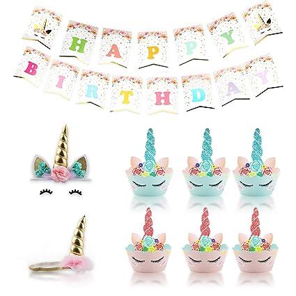 Amazon.com: Decoración para tartas de unicornio – 67 piezas ...