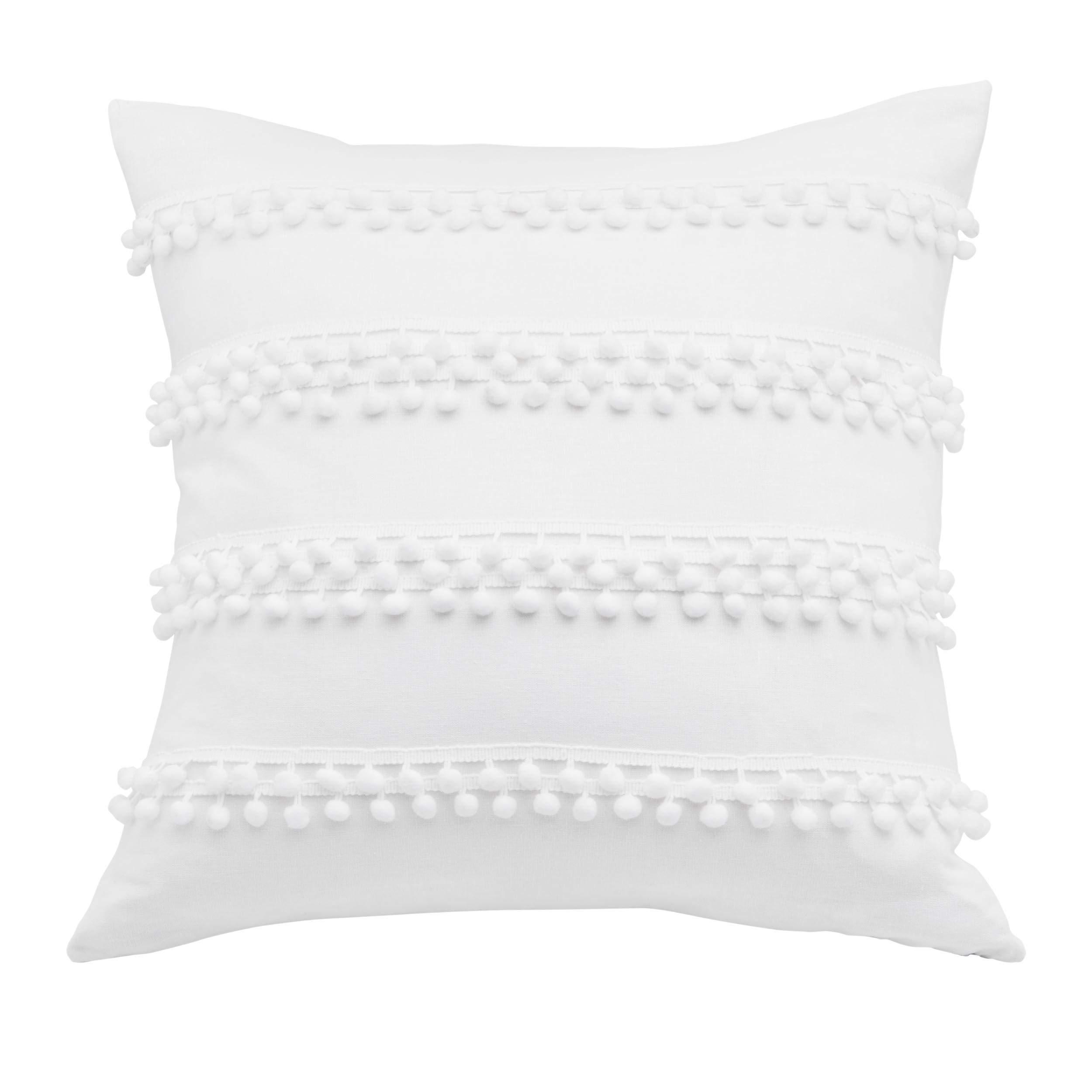 Trina Turk Pom Throw Pillow, 20x20, White