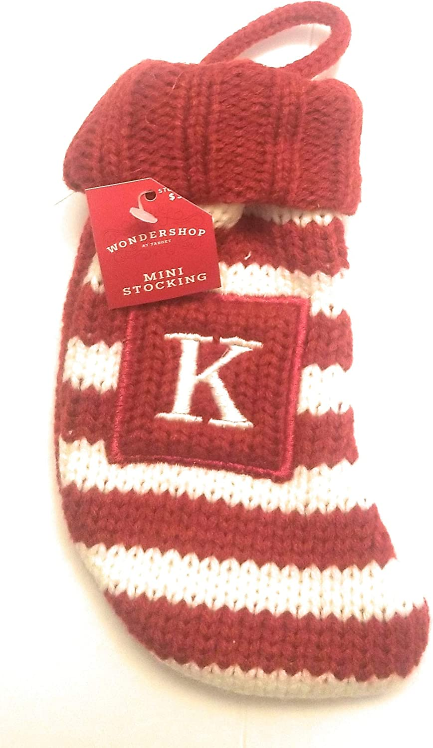 Wondershop Holiday Christmas Knit Mini Stocking Monogram Letter K White & Red Striped Measures 7