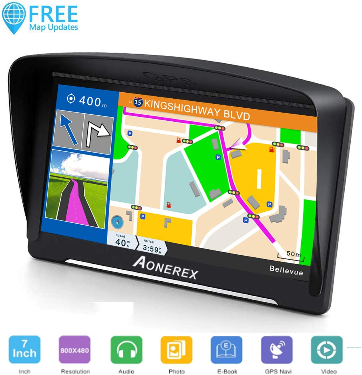 SAT NAV, 7 inch HD Capacitive Touch Screen GPS Navigation System with 8G Memory 2020 Upgraded Version Attach Sunshade,Free Lifetime Maps