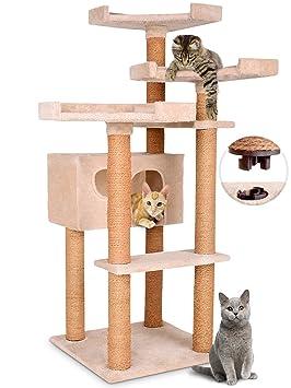 Leopet - Rascador arbol para gatos de altura 127,4 cm - 1 cueva cómoda y 3 plataformas - Beis - diferentes colores a elegir: Amazon.es: Hogar
