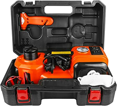 3Ton WOKEZ Electric Car Jack Floor Jack Automatic Impact Wrench Tire Inflator Pump 12V Lift Vehicle SUV Tire Change Repair Emergency Tool Kit Built in LED