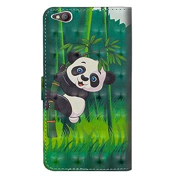 sinogoods para ZTE Nubia M2 Lite Funda, Cuero De La PU Magnético Capirotazo Billetera Apoyo Bumper Protector Cover Funda Carcasa Case - Panda de bambú ...