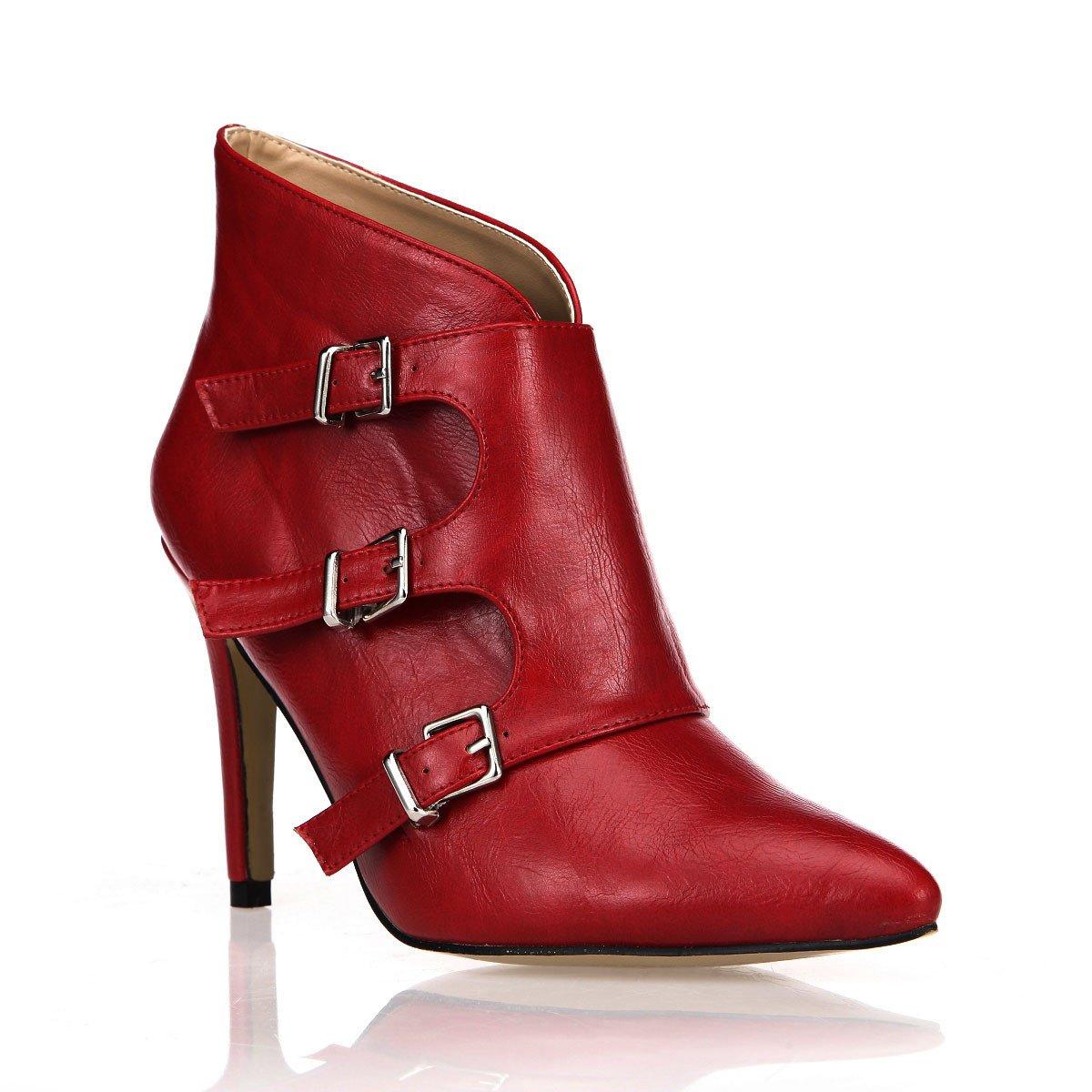 Kurze und Stiefel Frauen neue Nachtclub auf Spitzen - toe high-heel Schuhe mit Wein rot Damen Stiefel