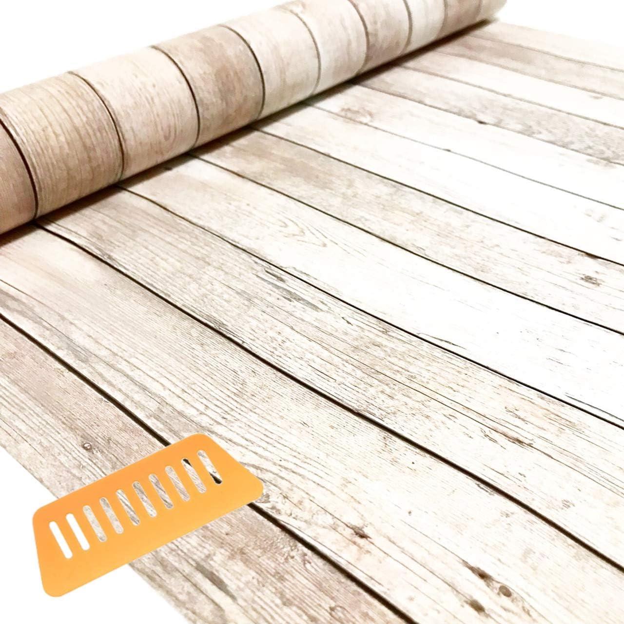 Amazon Gleood はがせる 防水 壁紙 シール クロス シート 45 Cm 幅 10 M 取付 道具 付 木目 アンティーク ホワイト 壁紙