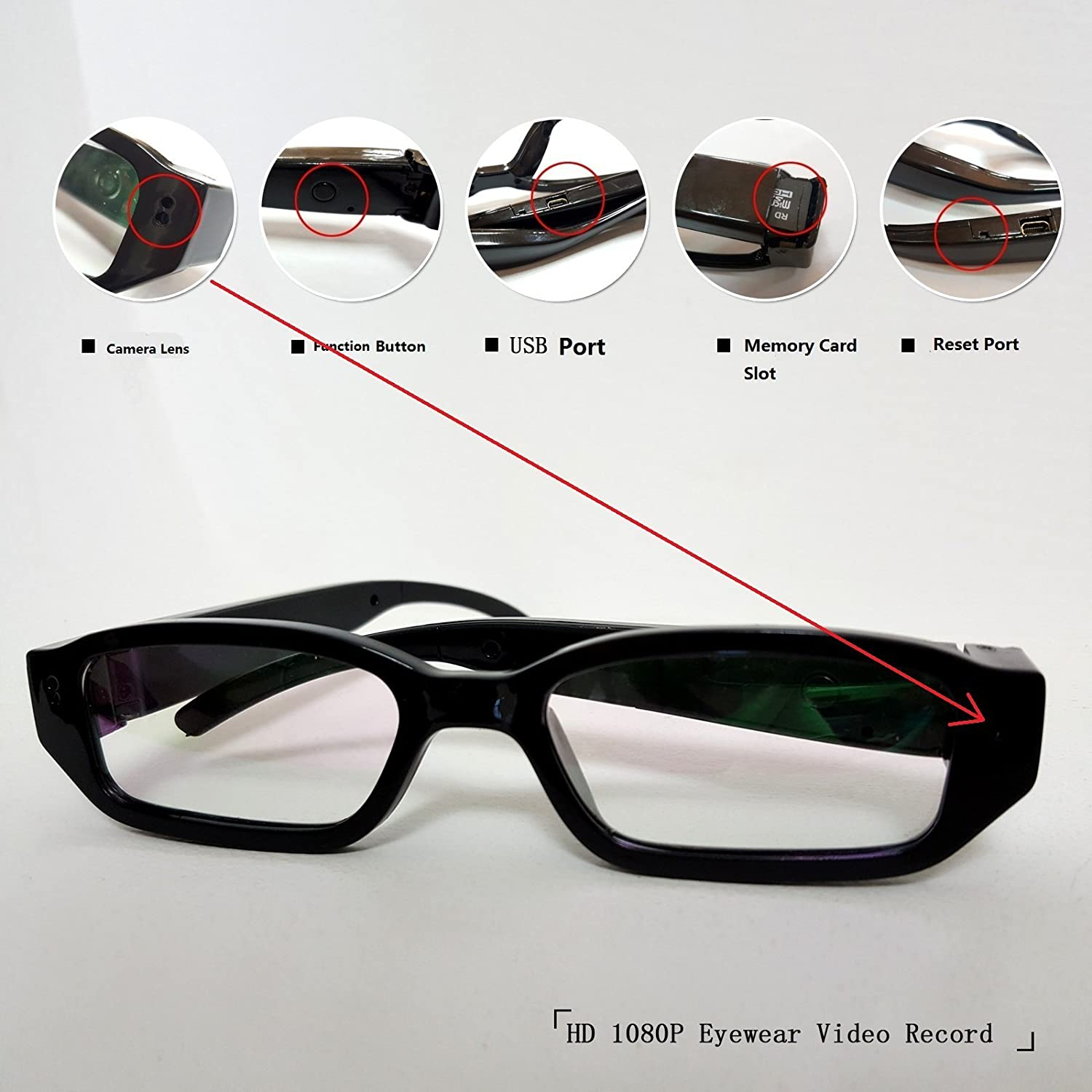 fb4ca82f215c4 Buy LDPmade Spy Camera Glasses Hidden Full HD 1080P 8G Eyeglasses Camcorder  with Video Taking of Spectacles Inspection for Halloween and Christmas  Online at ...