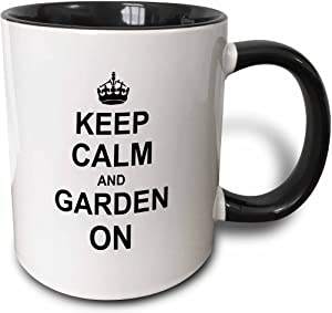 3dRose Keep Calm and Garden on Mug, 11 oz, Black